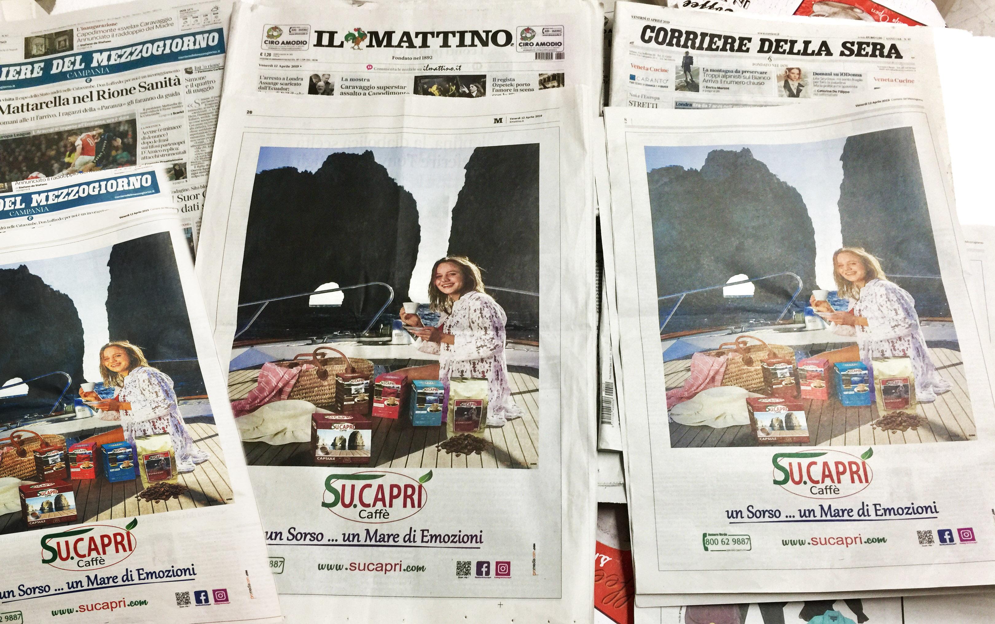 Caffè Su.Capri protagonista della campagna sui principali Quotidiani Italiani