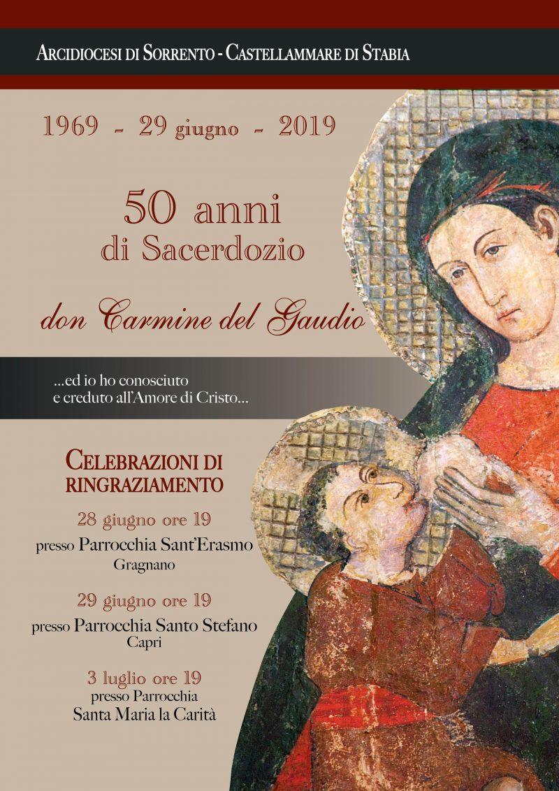 Capri. 50 anni di Sacerdozio per don Carmine del Gaudio (Celebrazioni di ringraziamento)