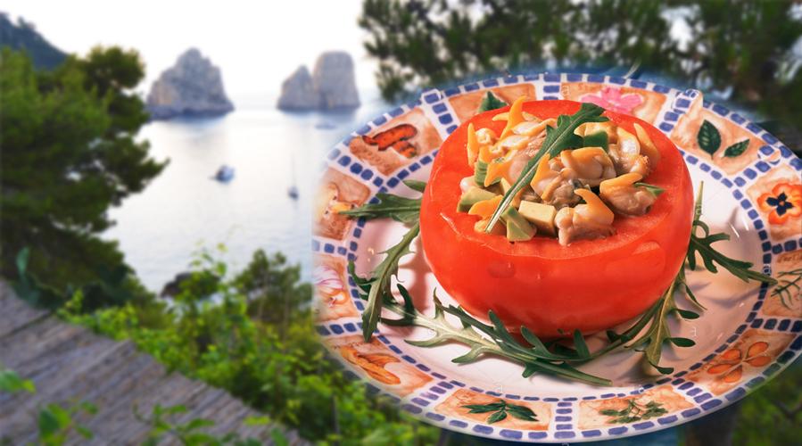 La ricetta dei Pomodori capresi Ripieni ai Frutti di Mare