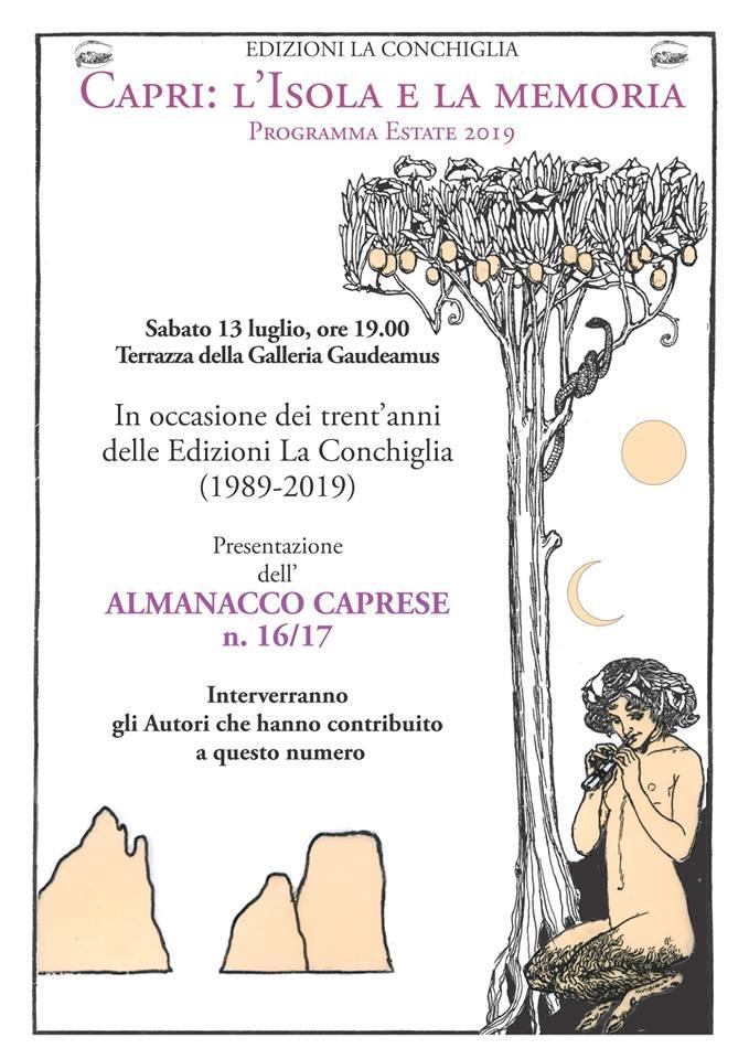 """Auguri """"Edizioni la Conchiglia"""" 30 anni di Successi Editoriali, Sabato 13 Luglio la presentazione dell'ultimo Almanacco Caprese"""