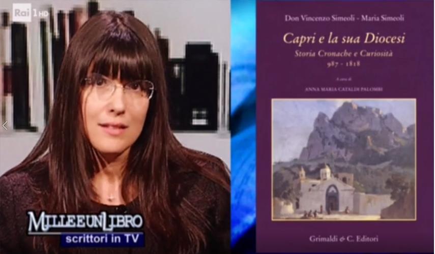 """Maria Simeoli ospite da Gigi Marzullo in """"Milleunlibro"""" su Raiuno con il libro """"Capri e la sua Diocesi""""(VIDEO)"""