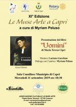 """Capri. Al via la XI Edizione """"Le Muse Arte"""" con la presentazione del libro """"Uomini"""" di Maria Teresa Cipri"""