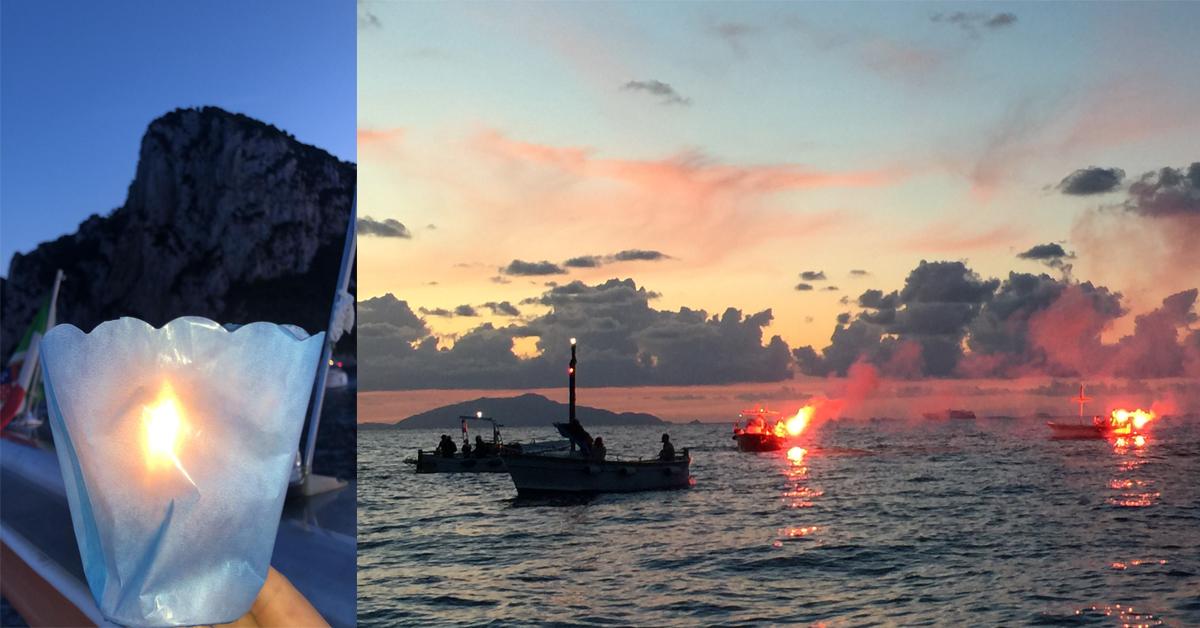 Capri. IL VIDEO della Fiaccolata a Mare per i 40 anni della deposizione della statua della Madonna del Soccorso