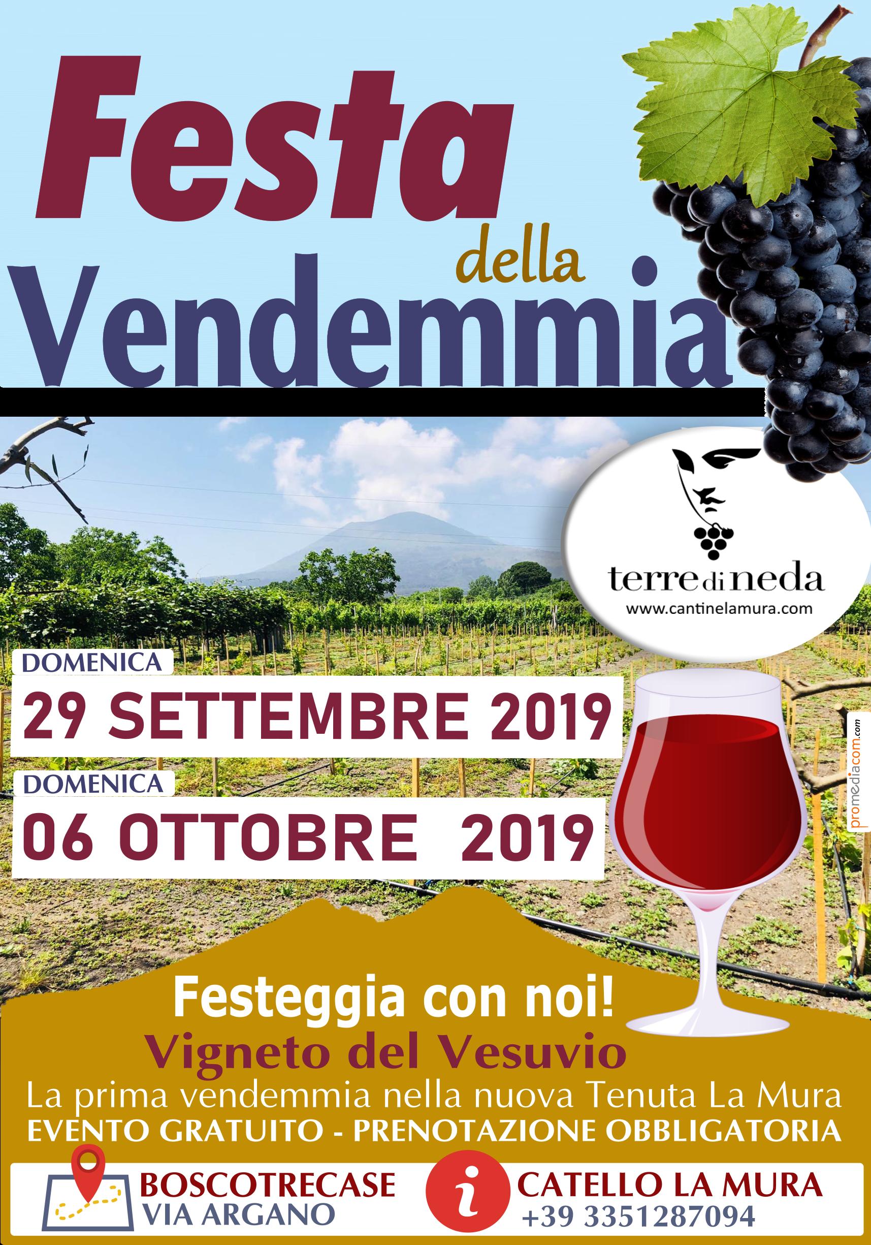 """Festa della Vendemmia nella nuova tenuta """"La Mura"""" ai piedi del Vesuvio, partecipazione  gratuita"""