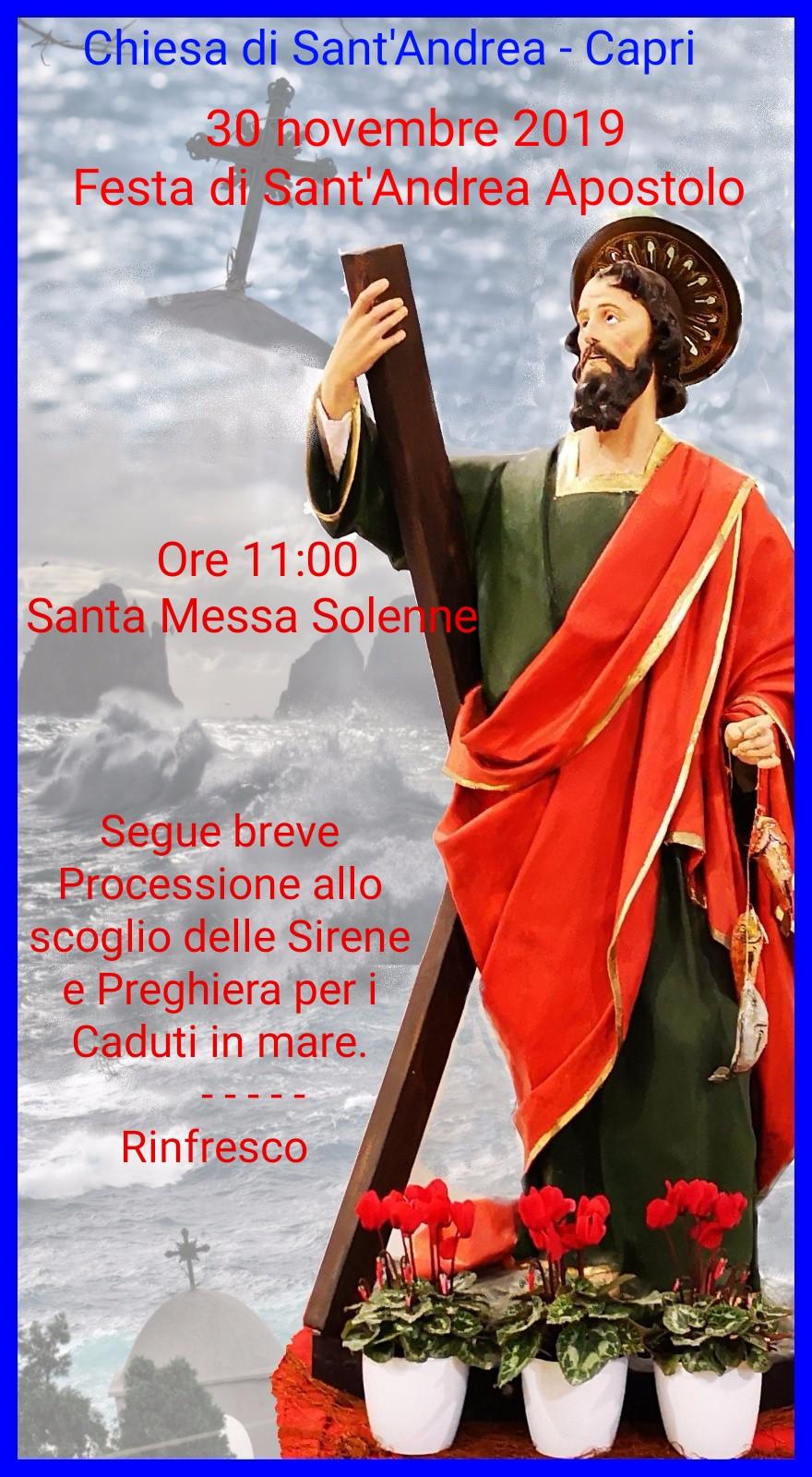 Capri. Celebrazioni in onore di Sant'Andrea e breve processione allo Scoglio delle Sirene in Marina Piccola