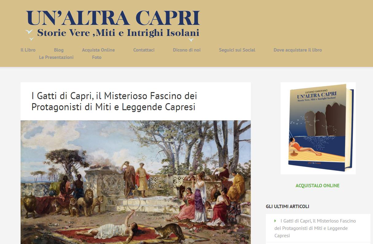 """I Gatti di Capri protagonisti dell'articolo sul blog """"Un' Altra Capri"""" scritto da Luciano Garofano"""