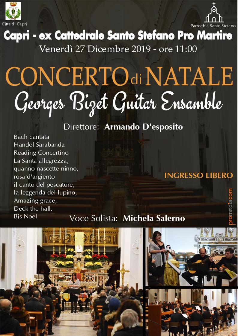"""""""Concerto di Natale"""" a Capri il tradizionale appuntamento con la """"G. Bizet Ensamble"""" nella Ex. Cattedrale di Santo Stefano"""