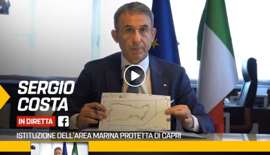 IL Ministro dell'Ambiente Sergio Costa firma in Diretta Facebook la lettera che dà il via all' Area Marina Protetta di Capri