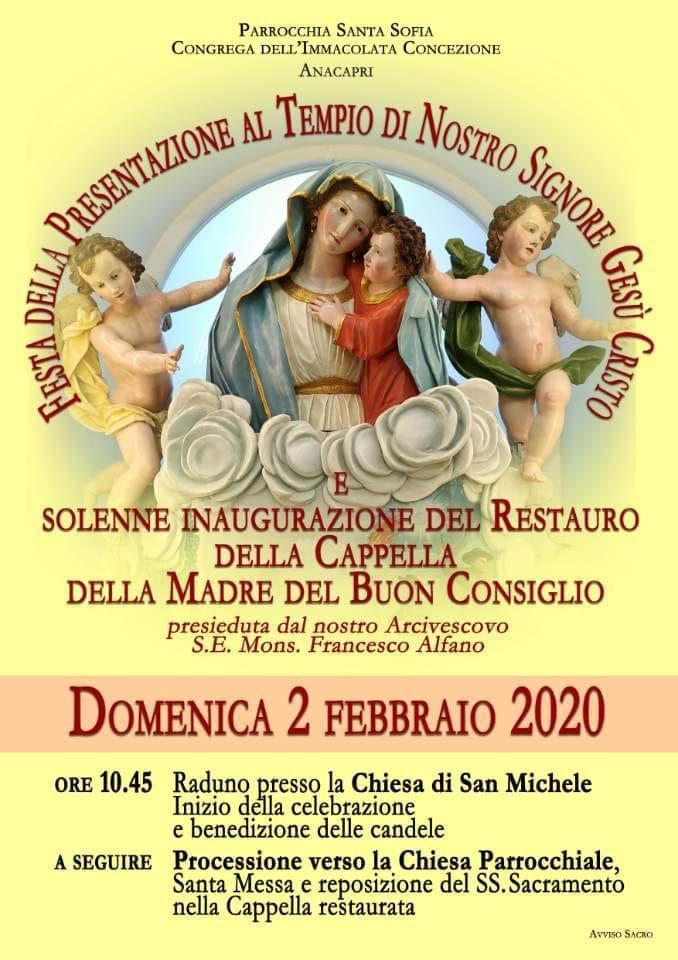 Capri. Inaugurazione del restauro della Cappella della Madre del Buon Consiglio presieduta dal Vescovo