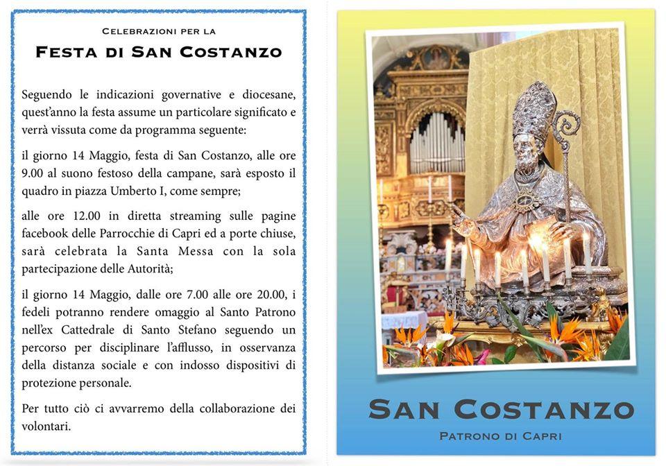 San Costanzo 2020, Celebrazioni in streaming e visita alla statua del Santo. (PROGRAMMA)