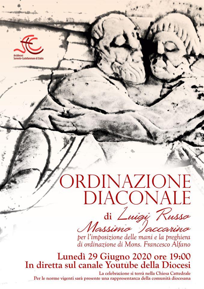 Ordinazione Diaconale di Luigi Russo e Massimo Iaccarino. Lunedì 29 Giugno alle ore 19 in diretta Streaming