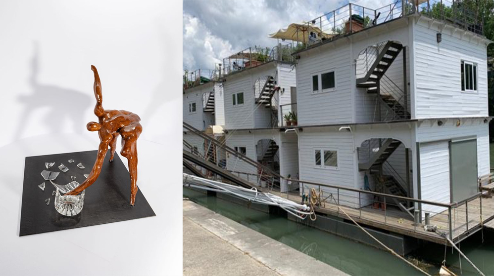 """Da Capri a Roma l'opera """"La Frustazione""""dello scultore Ciro de Riso a """"Bateau Tiberis"""" l'originale mostra collettiva sul barcone Gilda"""