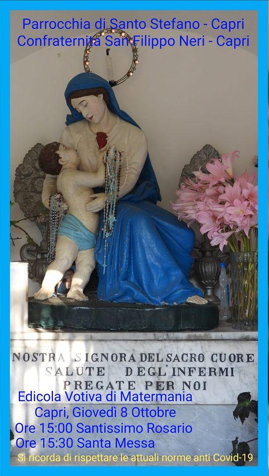 Capri. S.s. Rosario e Celebrazione della S. Messa presso l'edicola della Madre del Divino Amore in Matermania