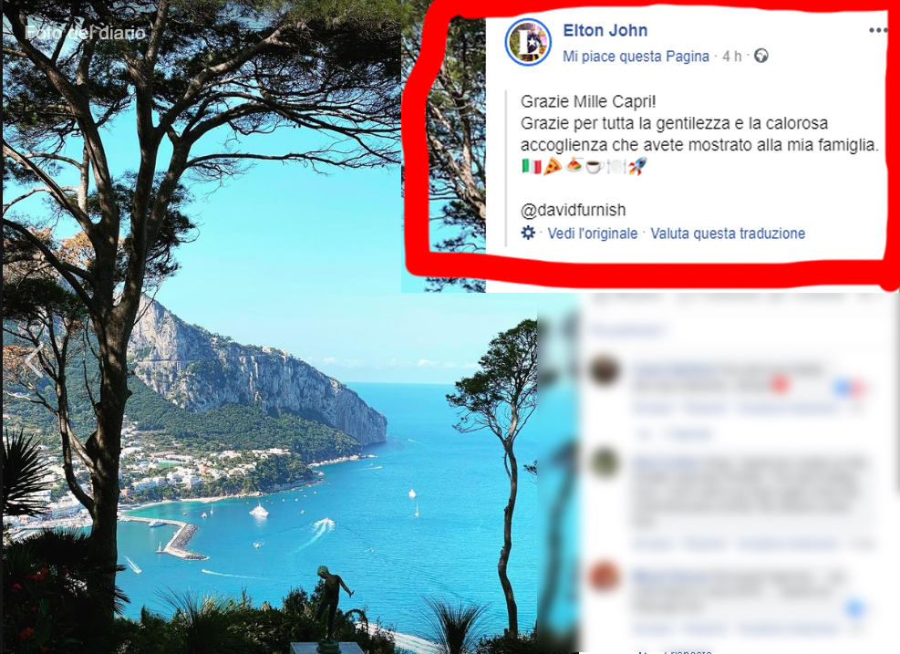 """Elton John saluta Capri con questo messaggio"""" Grazie Mille Capri! Grazie per tutta la gentilezza e la calorosa accoglienza che avete mostrato alla mia famiglia"""""""