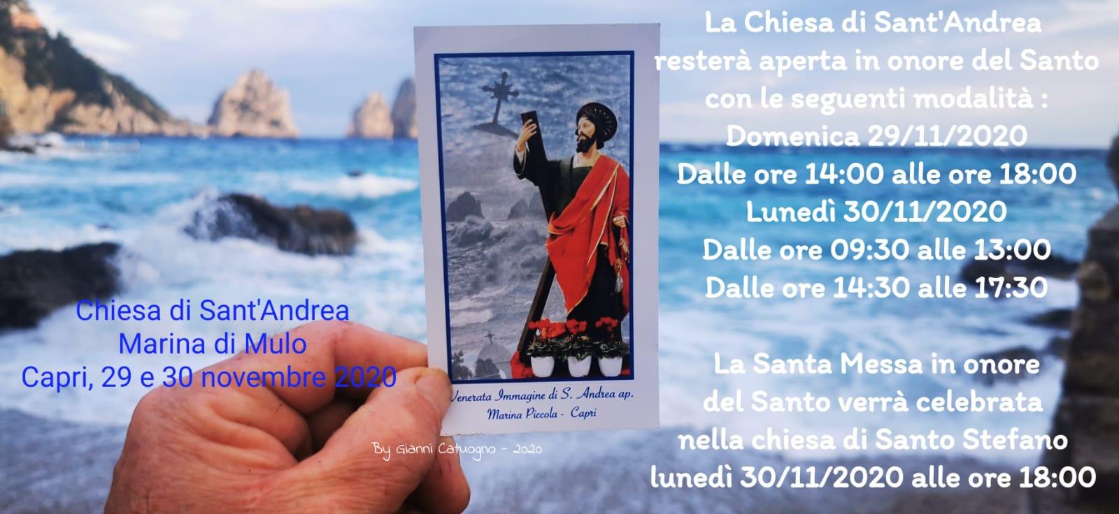 Capri. Le Celebrazioni in onore di Sant' Andrea in maniera ridotta a causa del Covid-19