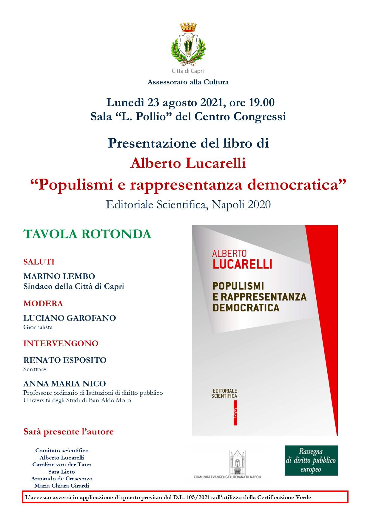 """Capri. Presentazione del libro di Alberto Lucarelli """"Populismi e rappresentanza democratica"""""""