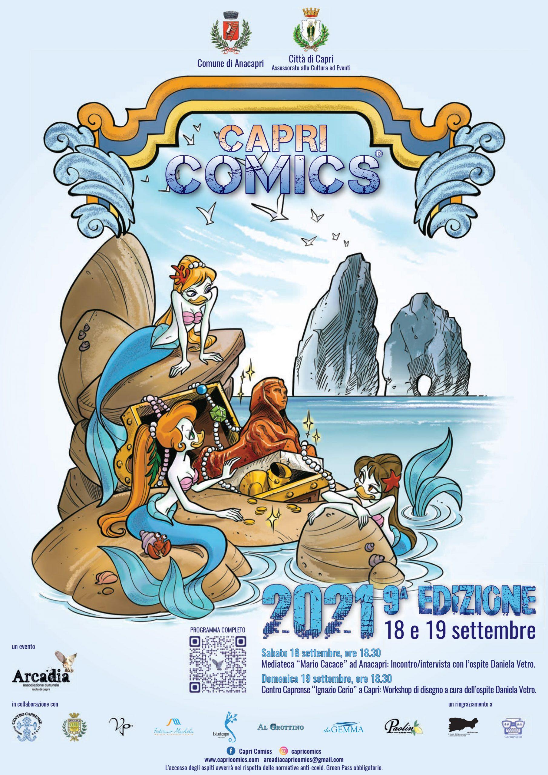 Capri Comics. Tutto pronto per la nona edizione dell'evento fumettistico dell'Isola di Capri ( in presenza) con l'ospite Daniela Vetro